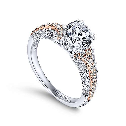 Jay 18k White And Rose Gold Round Straight Engagement Ring