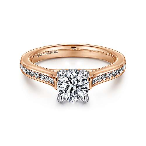 Jayden 14k White And Rose Gold Round Straight Engagement Ring angle 1