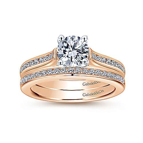 Jayden 14k White And Rose Gold Round Straight Engagement Ring angle 4