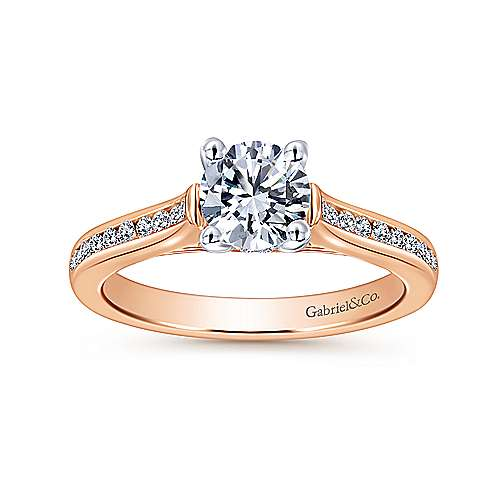 Jayden 14k White And Rose Gold Round Straight Engagement Ring angle 5