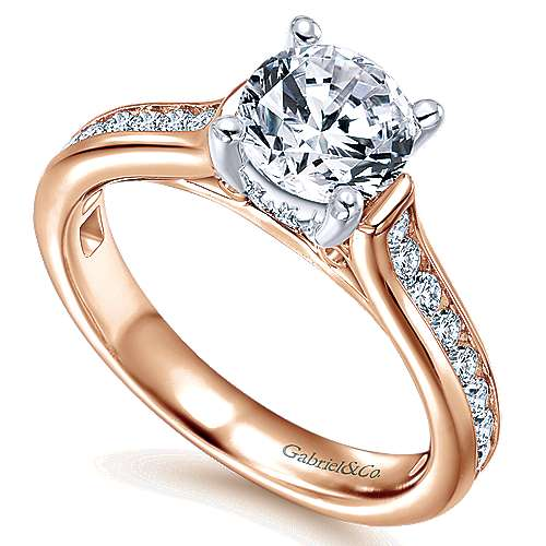 Jayden 14k White And Rose Gold Round Straight Engagement Ring angle 3