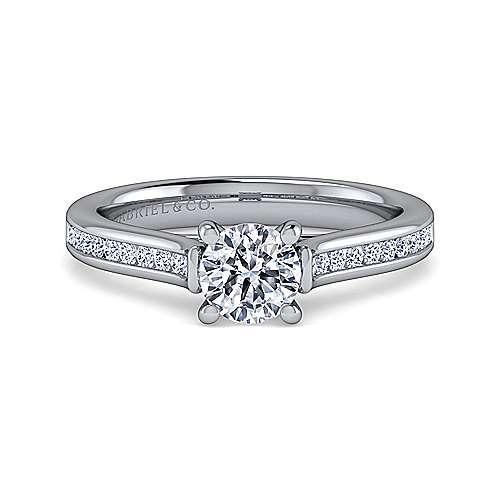 Gabriel - Jayden 14k White Gold Round Straight Engagement Ring