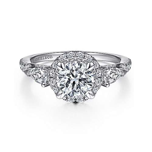 Gabriel - Jayla 14k White Gold Round Halo Engagement Ring