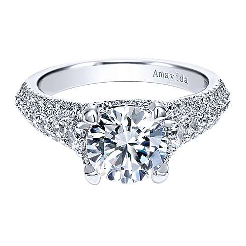 Gabriel - Jaynese 18k White Gold Round Straight Engagement Ring