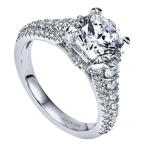 Jaynese 18k White Gold Round Straight Engagement Ring angle 3