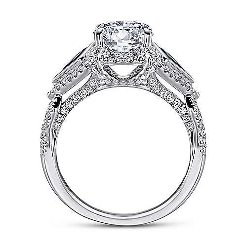 Jazz 18k White Gold Round 3 Stones Halo Engagement Ring angle 2