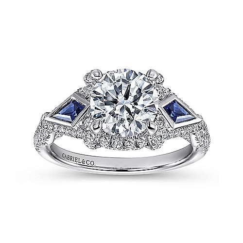 Jazz 18k White Gold Round 3 Stones Halo Engagement Ring angle 5