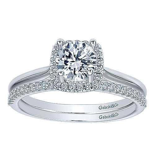 Jenna 14k White Gold Round Halo Engagement Ring angle 4