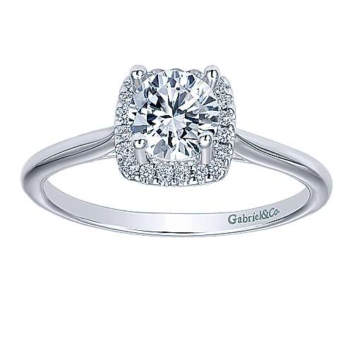 Jenna 14k White Gold Round Halo Engagement Ring angle 5