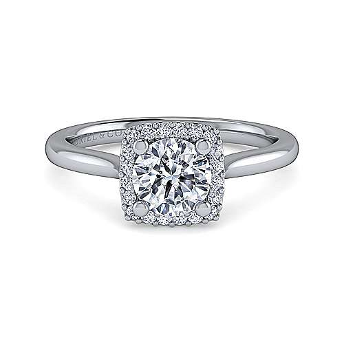 Gabriel - Jenna 14k White Gold Round Halo Engagement Ring