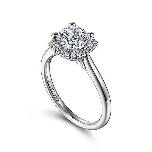 Jenna 14k White Gold Round Halo Engagement Ring angle 3