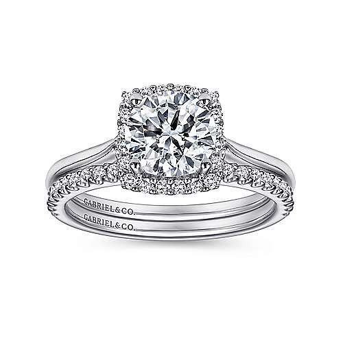 Jenna 14k White Gold Round Halo Engagement Ring