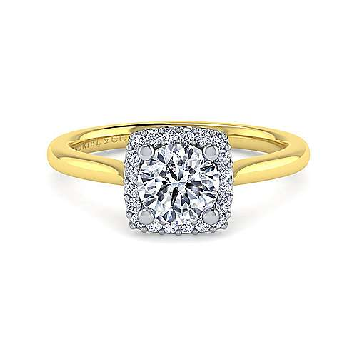 Gabriel - Jenna 14k Yellow/white Gold Round Halo Engagement Ring