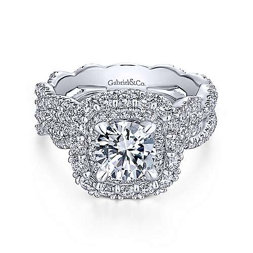 Gabriel - Jennifer 18k White Gold Round Double Halo Engagement Ring
