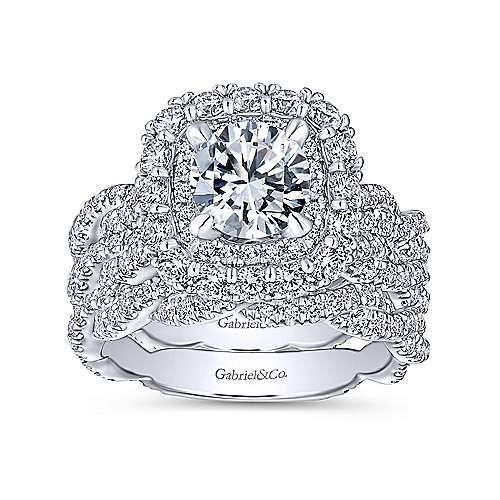 Jennifer 18k White Gold Round Double Halo Engagement Ring angle 4