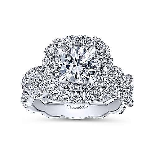 Jennifer 18k White Gold Round Double Halo Engagement Ring angle 5