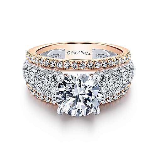 Gabriel - Jessa 18k White And Rose Gold Round Straight Engagement Ring