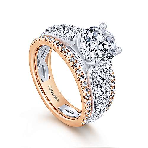 Jessa 18k White And Rose Gold Round Straight Engagement Ring angle 3