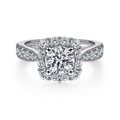 Gabriel - Jessamine 14k White Gold Round Halo Engagement Ring