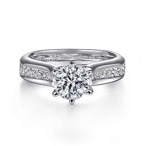 Gabriel - Jessica 14k White Gold Round Straight Engagement Ring