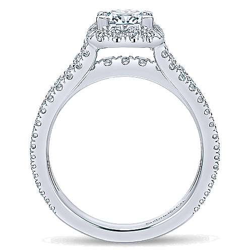 Jewel 14k White Gold Princess Cut Halo Engagement Ring angle 2