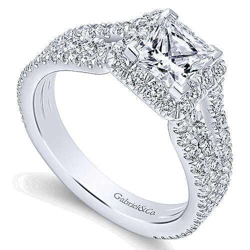 Jewel 14k White Gold Princess Cut Halo Engagement Ring angle 3