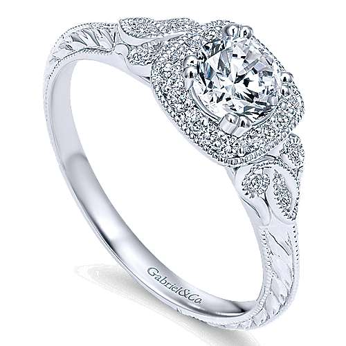 Joan 14k White Gold Round Halo Engagement Ring angle 3