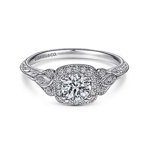 Gabriel - Joan 14k White Gold Round Halo Engagement Ring