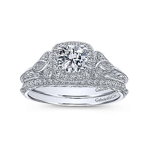 Joan 14k White Gold Round Halo Engagement Ring angle 4