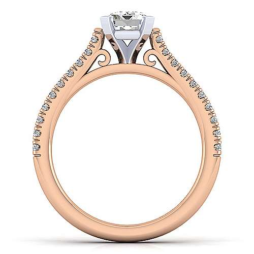 Joanna 14k White And Rose Gold Emerald Cut Straight Engagement Ring angle 2