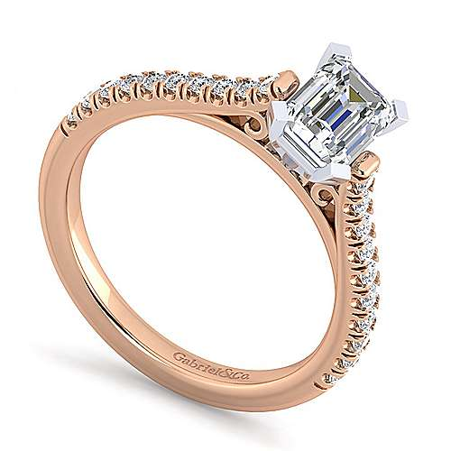 Joanna 14k White And Rose Gold Emerald Cut Straight Engagement Ring angle 3