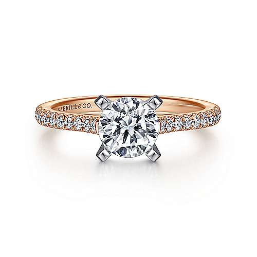 Gabriel - Joanna 14k White And Rose Gold Round Straight Engagement Ring
