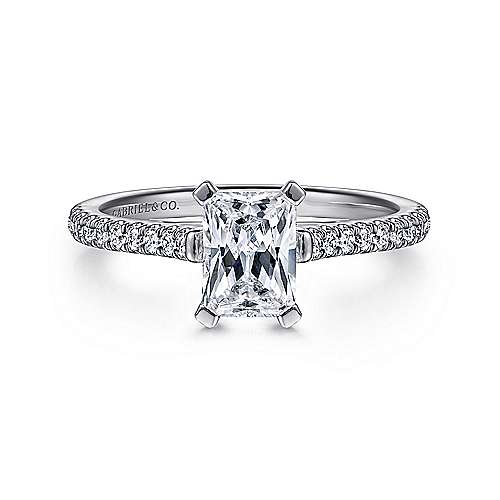 Gabriel - Joanna 14k White Gold Emerald Cut Straight Engagement Ring