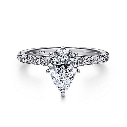 Gabriel - Joanna 14k White Gold Pear Shape Straight Engagement Ring