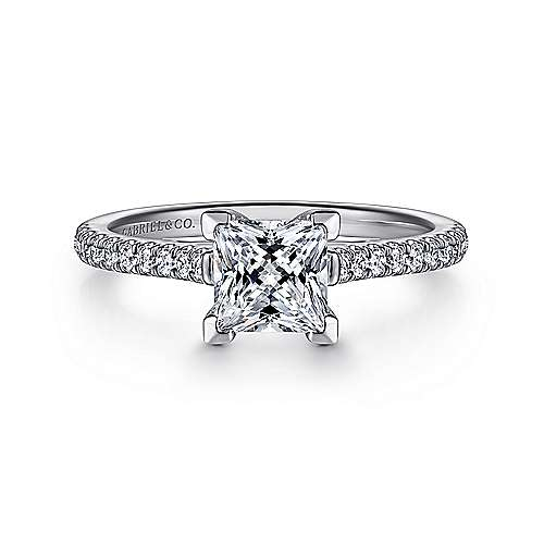 Gabriel - Joanna 14k White Gold Princess Cut Straight Engagement Ring