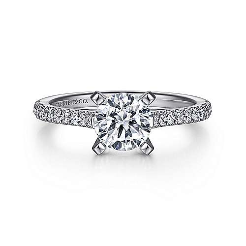 Gabriel - Joanna 14k White Gold Round Straight Engagement Ring