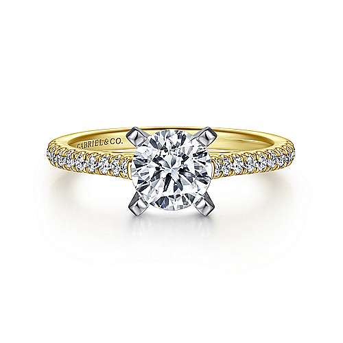 Gabriel - Joanna 14k Yellow/white Gold Round Straight Engagement Ring