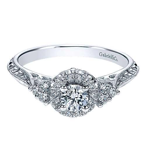 Joel 14k White Gold Round Halo Engagement Ring angle 1