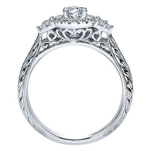 Joel 14k White Gold Round Halo Engagement Ring angle 2