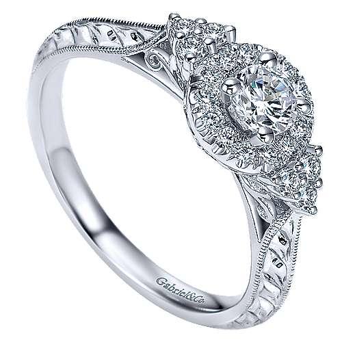 Joel 14k White Gold Round Halo Engagement Ring angle 3