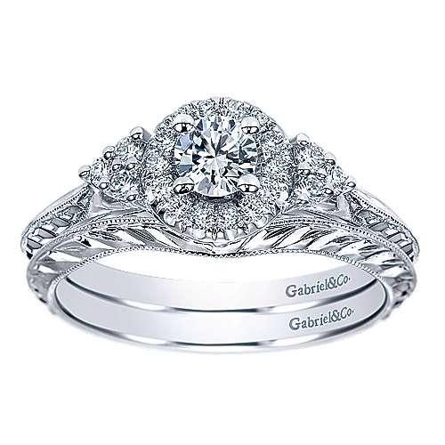 Joel 14k White Gold Round Halo Engagement Ring angle 4