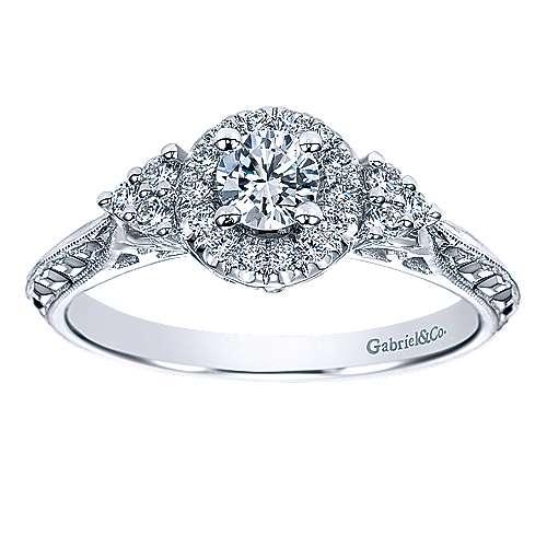 Joel 14k White Gold Round Halo Engagement Ring angle 5