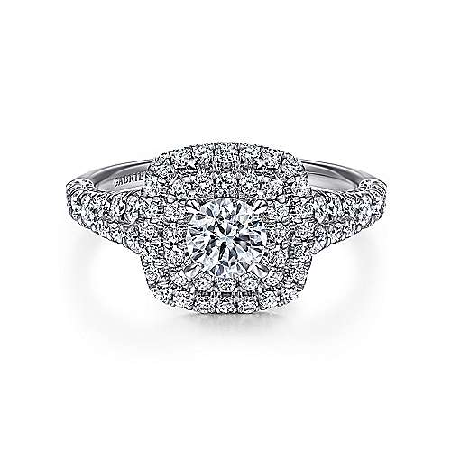 Gabriel - Johanna 14k White Gold Round Double Halo Engagement Ring