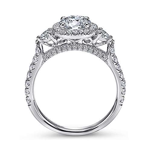 Jolene 14k White Gold Round 3 Stones Halo Engagement Ring angle 2