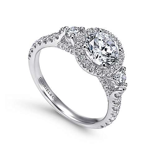 Jolene 14k White Gold Round 3 Stones Halo Engagement Ring angle 3