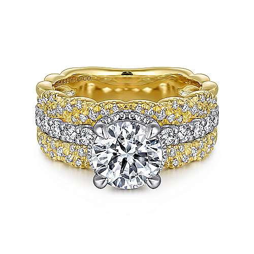 Jolie 18k Yellow And White Gold Round Straight Engagement Ring angle 1
