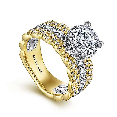 Jolie 18k Yellow And White Gold Round Straight Engagement Ring angle 3