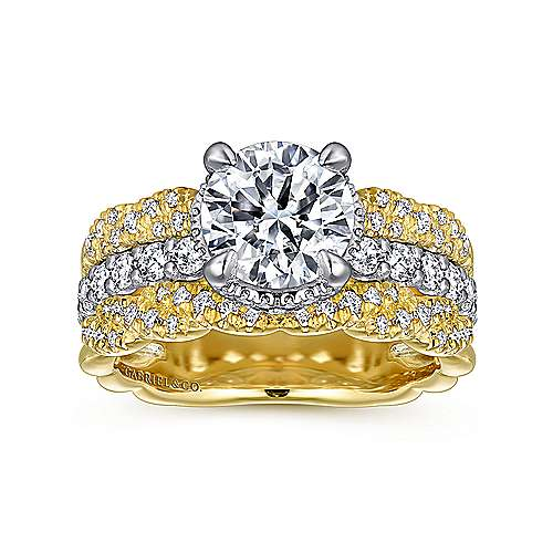 Jolie 18k Yellow And White Gold Round Straight Engagement Ring angle 5