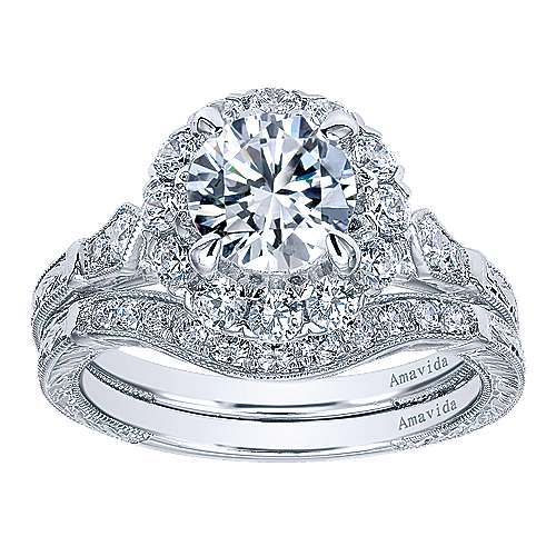 Jolly 18k White Gold Round Halo Engagement Ring angle 4