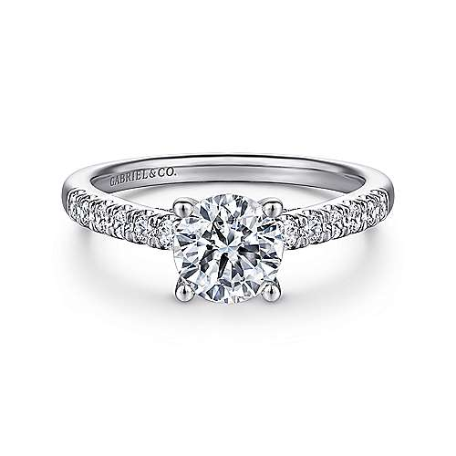 Gabriel - Jones 14k White Gold Round Straight Engagement Ring